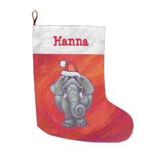 Festive Personalized Elephant Christmas Large Christmas Stocking