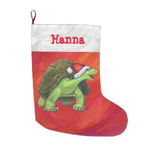 Festive Personalized Tortoise Christmas Large Christmas Stocking