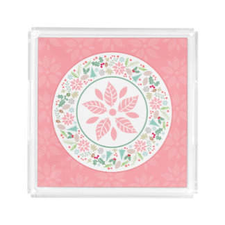 Festive Pink Green Holiday Wreath Acrylic Tray