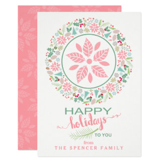 Festive Pink Green Holiday Wreath Collage Card