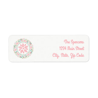 Festive Pink Green Holiday Wreath Collage Labels
