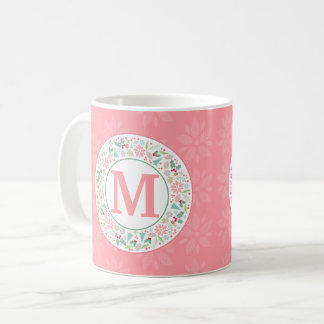 Festive Pink Green Holiday Wreath Collage Mug