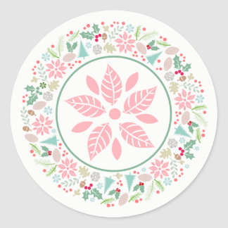 Festive Pink Green Holiday Wreath Collage Stickers