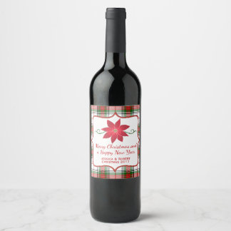 Festive Plaid Holiday Wine Label
