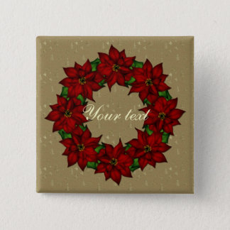 Festive Poinsettia Design 2 Inch Square Button