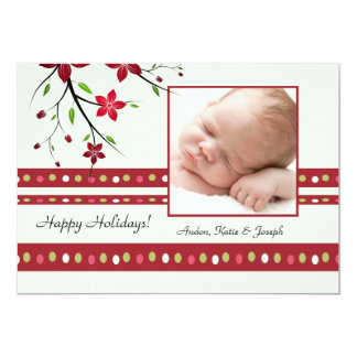 Festive Poinsettia Photo Card