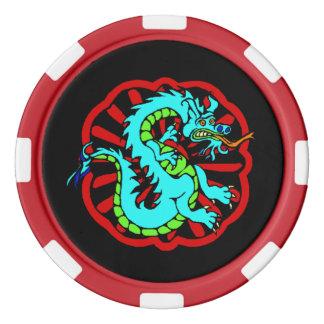 Festive Poker Chip Lucky Blue Dragon Feng Shui Poker Chips Set