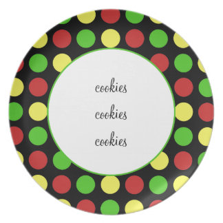 Festive Polka Dots in RGY on Black Party Plate