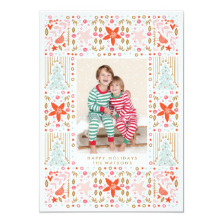 Festive Pretty Colorful Christmas Photo Card