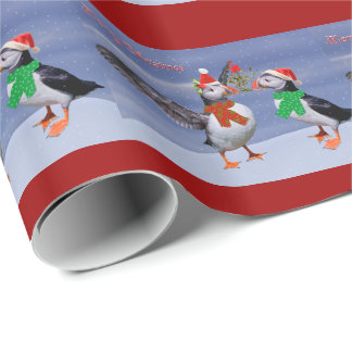 Festive Puffins Wrapping Paper - Christmas