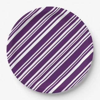 Festive Purple and White Stripes Paper Plates