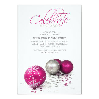 Festive Purple Baubles Celebrate the Season Card