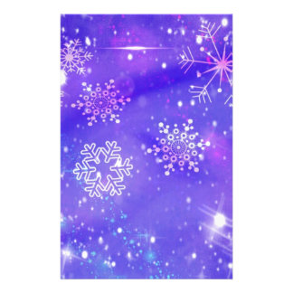 Festive Purple Snowflake Stars Christmas Party Personalized Stationery