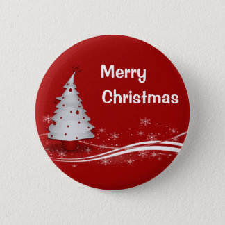 Festive Red Background & White Christmas Tree 2 Inch Round Button