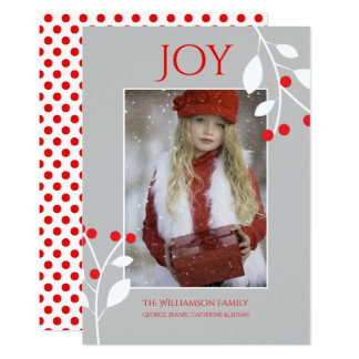 Festive Red Berries Christmas Photo Card