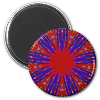 Festive Red Blue Radiating Circular Pattern 2 Inch Round Magnet