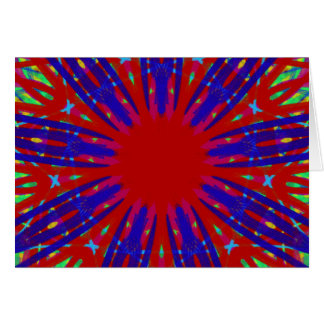 Festive Red Blue Radiating Circular Pattern Card
