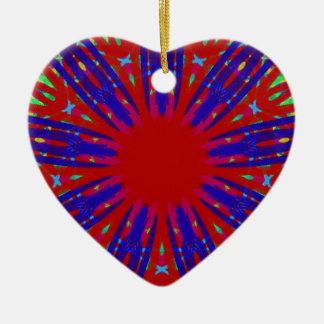 Festive Red Blue Radiating Circular Pattern Ceramic Heart Ornament