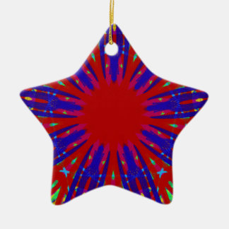 Festive Red Blue Radiating Circular Pattern Ceramic Star Ornament
