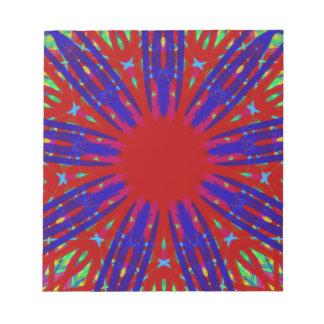 Festive Red Blue Radiating Circular Pattern Notepads