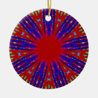 Festive Red Blue Radiating Circular Pattern Round Ceramic Ornament