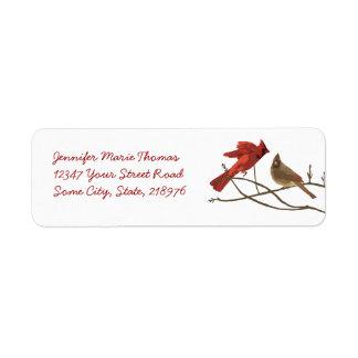 Festive Red Cardinals Return Address