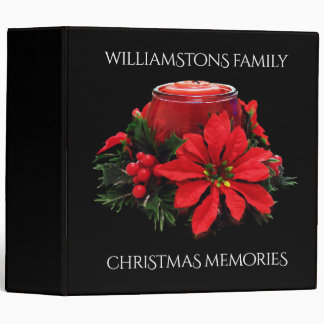 Festive Red Christmas Candle, Holly and Poinsettia Binders