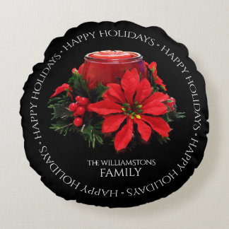 Festive Red Christmas Candle, Holly and Poinsettia Round Pillow