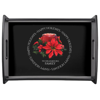 Festive Red Christmas Candle, Holly and Poinsettia Serving Tray