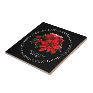 Festive Red Christmas Candle, Holly and Poinsettia Tile
