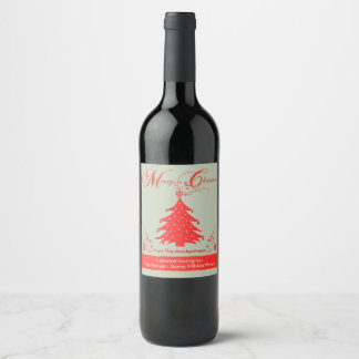 Festive Red Christmas Tree Custom Wine Label