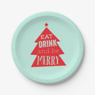 Festive Red Christmas Tree Party Paper Plate