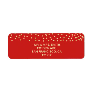 Festive Red Faux Gold Confetti Return Address