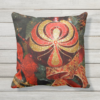 Festive Red Gold Christmas Ornament & Poinsettia Outdoor Pillow