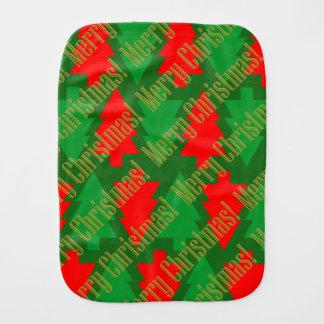 Festive Red Gold Green Christmas Tree Burp Cloth