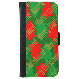Festive Red Gold Green Christmas Tree iPhone 6 Wallet Case