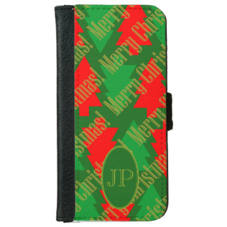 Festive Red Gold Green Christmas Tree Monogram iPhone 6 Wallet Case