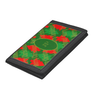 Festive Red Gold Green Christmas Tree Monogram Trifold Wallet