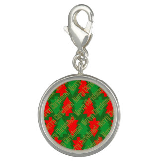 Festive Red Gold Green Christmas Tree Photo Charm