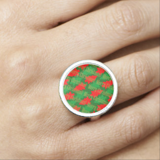 Festive Red Gold Green Christmas Tree Photo Ring