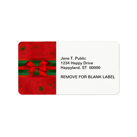 Festive Red Green Stars Bow Ribbon Christmas Label