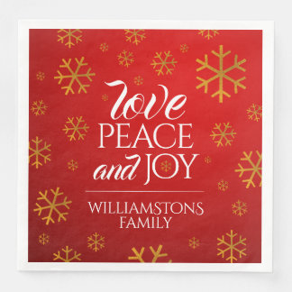 Festive Red Love, Peace, and Joy with Snowflakes Disposable Napkin