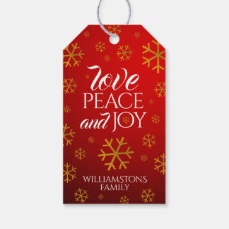 Festive Red Love, Peace, and Joy with Snowflakes Gift Tags