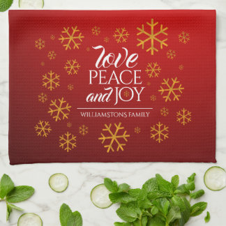 Festive Red Love, Peace, and Joy with Snowflakes Kitchen Towel