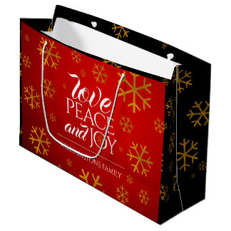 Festive Red Love, Peace, and Joy with Snowflakes Large Gift Bag