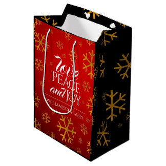 Festive Red Love, Peace, and Joy with Snowflakes Medium Gift Bag