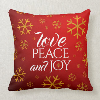 Festive Red Love, Peace, and Joy with Snowflakes Throw Pillow