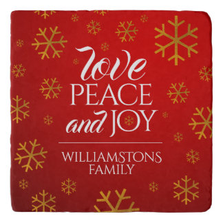 Festive Red Love, Peace, and Joy with Snowflakes Trivet
