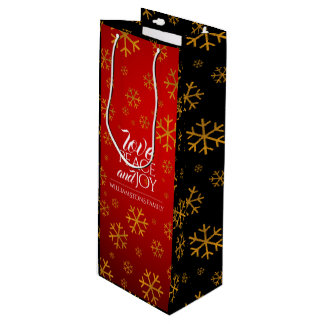 Festive Red Love, Peace, and Joy with Snowflakes Wine Gift Bag