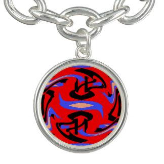 Festive Red Native Indian and Japanese Art Blend Bracelet